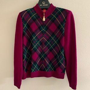 St. John Sweater Mulberry Front Zip Golden Tassel